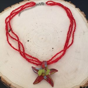 Starfish Blown Glass Pendant